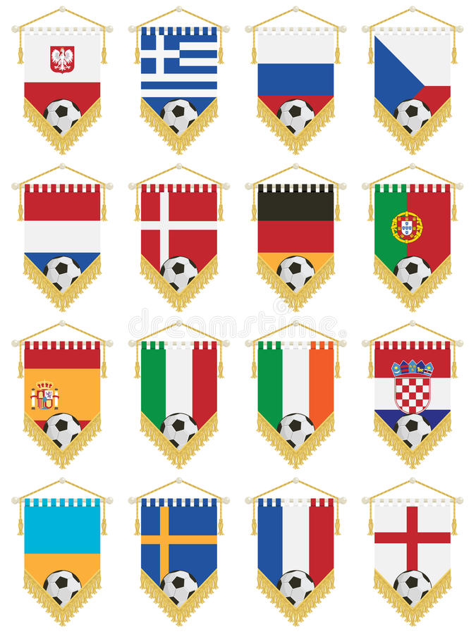 вымпелы футбола флага иллюстрация вектора