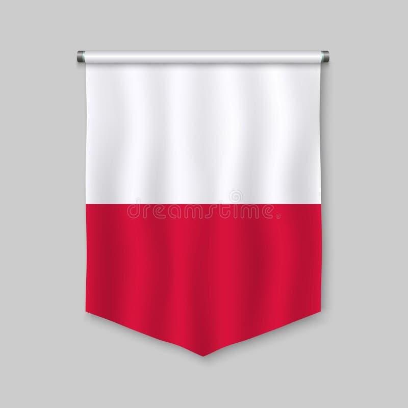 Вымпел с флагом иллюстрация вектора