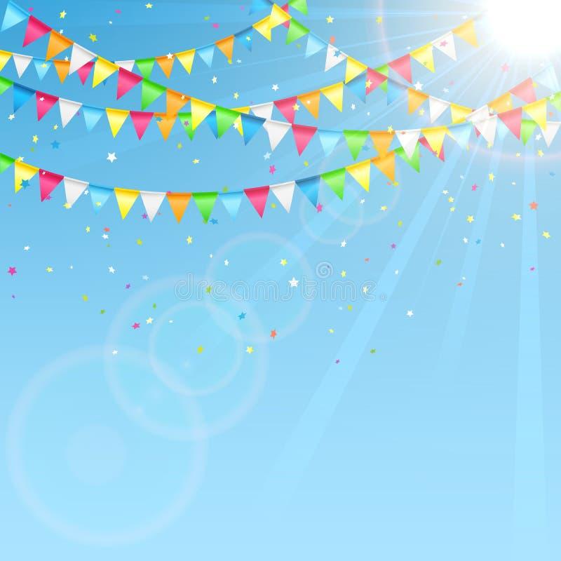 Вымпелы праздника на предпосылке неба бесплатная иллюстрация