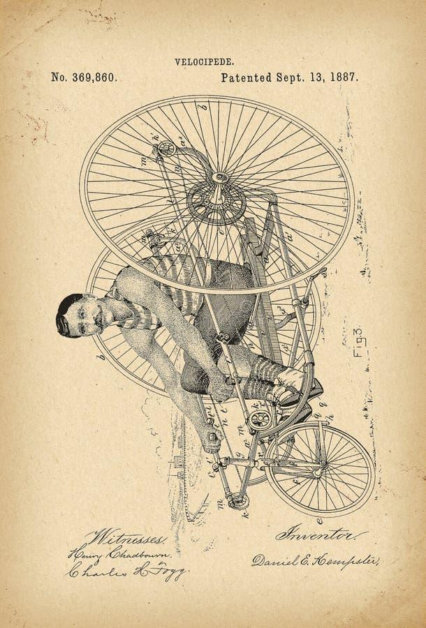 Вымысел истории велосипеда трицикла Velocipede 1887 патентов архивный иллюстрация вектора