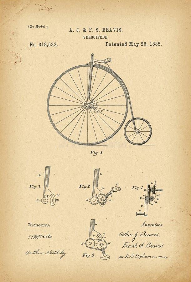 Вымысел истории велосипеда Velocipede 1885 патентов иллюстрация штока
