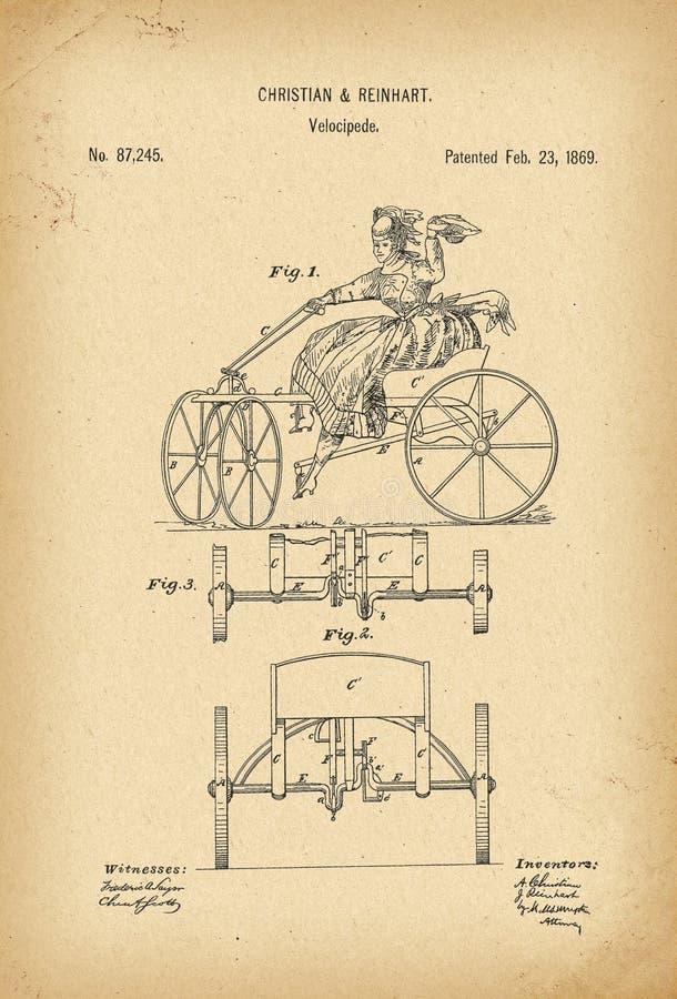 Вымысел истории велосипеда Velocipede 1869 патентов иллюстрация вектора