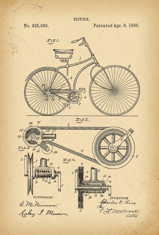 Вымысел истории велосипеда Velocipede 1890 патентов бесплатная иллюстрация