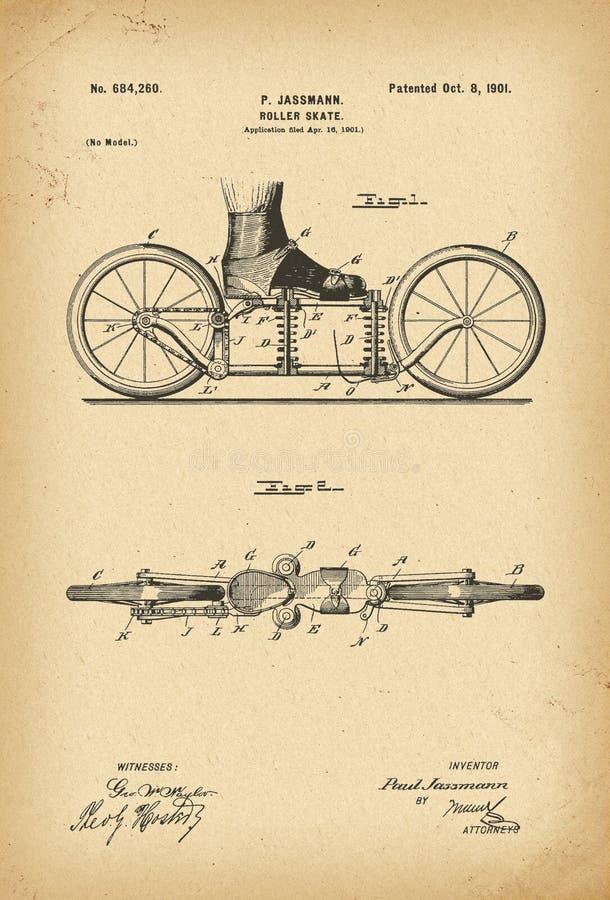 вымысел истории патента 1901 Ролик-конька иллюстрация штока