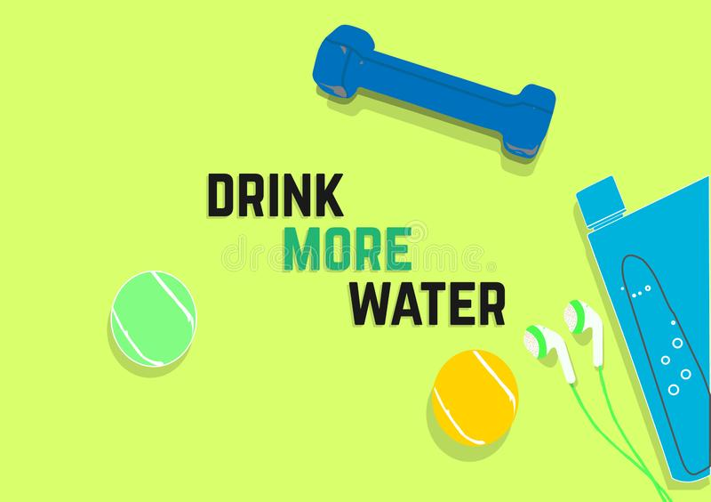 Выпейте больше воды Цитаты мотивировки фитнеса изолированная принципиальной схемой белизна спорта иллюстрация штока