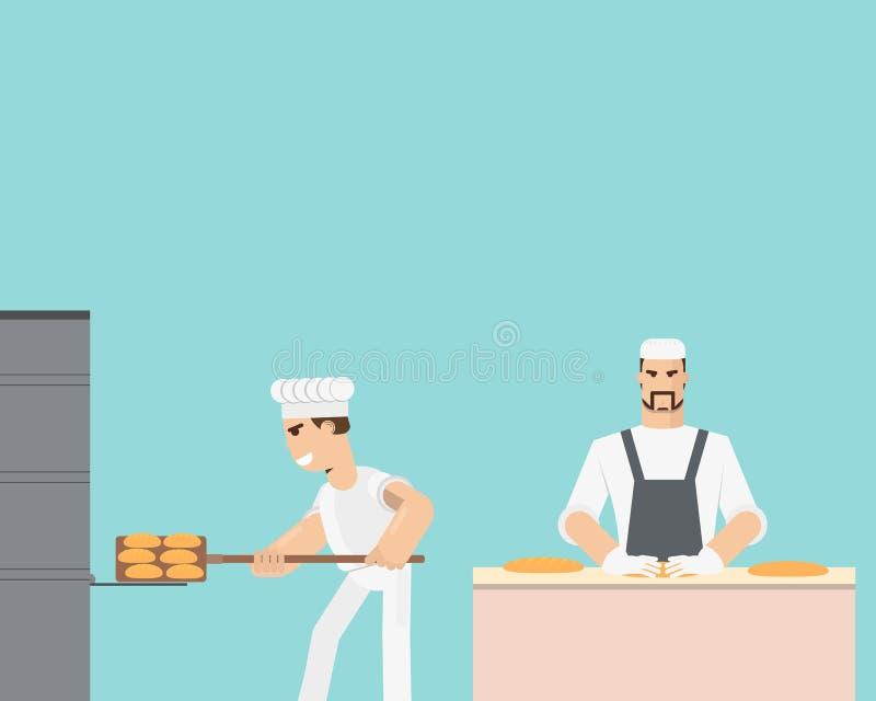 Выпечка хлеба иллюстрация вектора