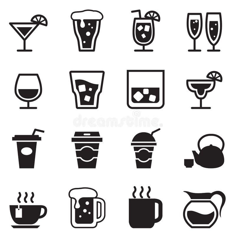 Выпивающ, стекло, кувшин, установленные значки чашки иллюстрация вектора