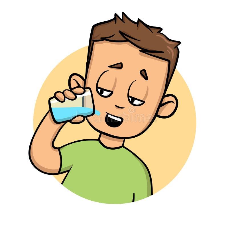 выпивая вода ванты Плоский значок дизайна Красочная плоская иллюстрация вектора белизна изолированная предпосылкой бесплатная иллюстрация