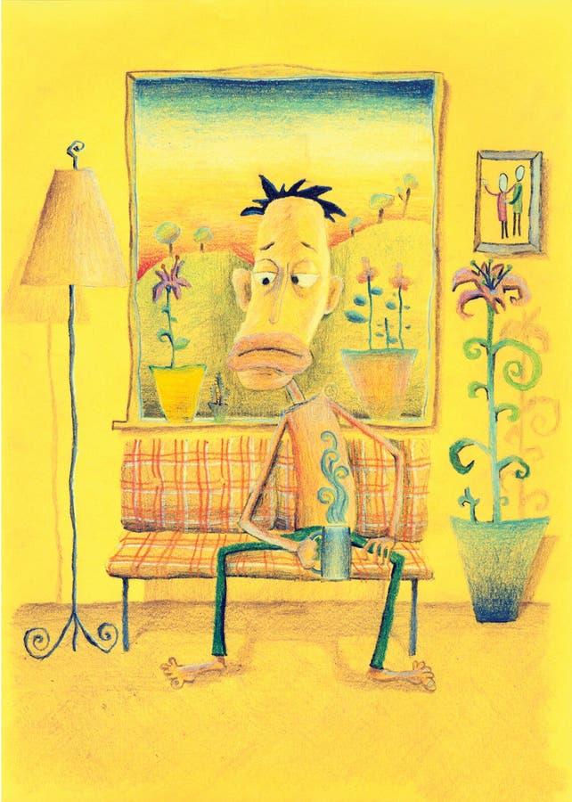 выпивая горячий чай комнаты человека сидя бесплатная иллюстрация