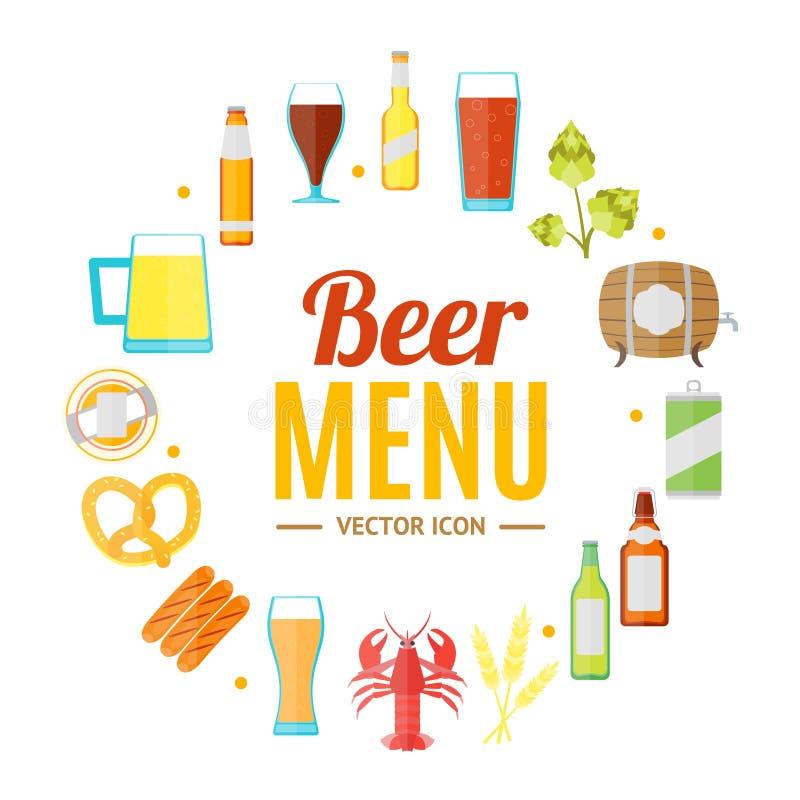 Выпивая карточка знамени шаблона дизайна пива круглая вектор бесплатная иллюстрация