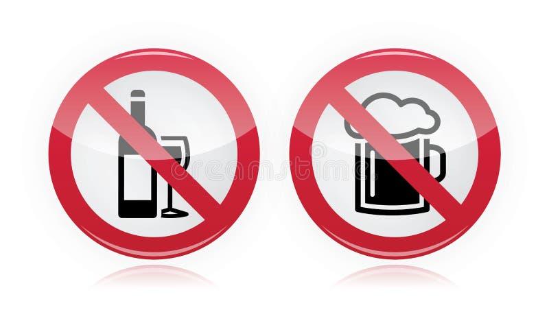 Выпивая проблема - отсутствие предупредительного знака спирта бесплатная иллюстрация
