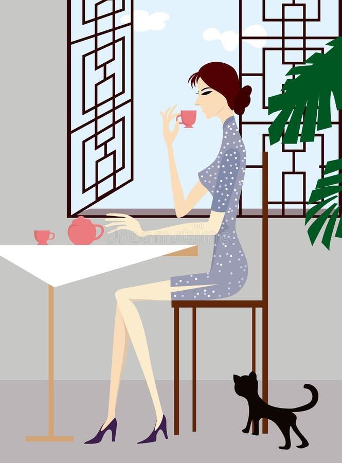 выпивая чай бесплатная иллюстрация