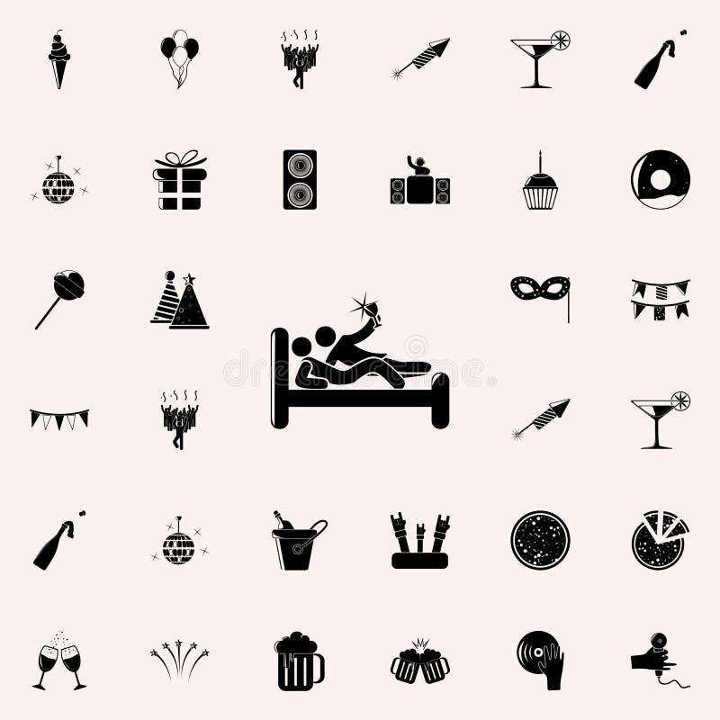 выпить в значке кровати Party комплект значков всеобщий для сети и черни иллюстрация штока