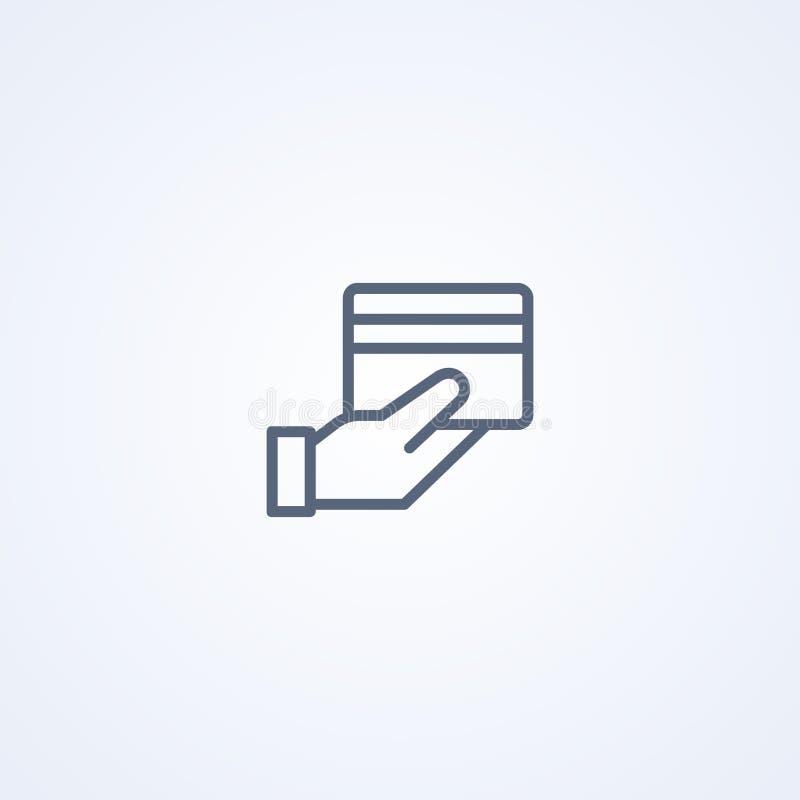 Выплата по кредитной карточке, линия значок вектора самая лучшая серая иллюстрация вектора
