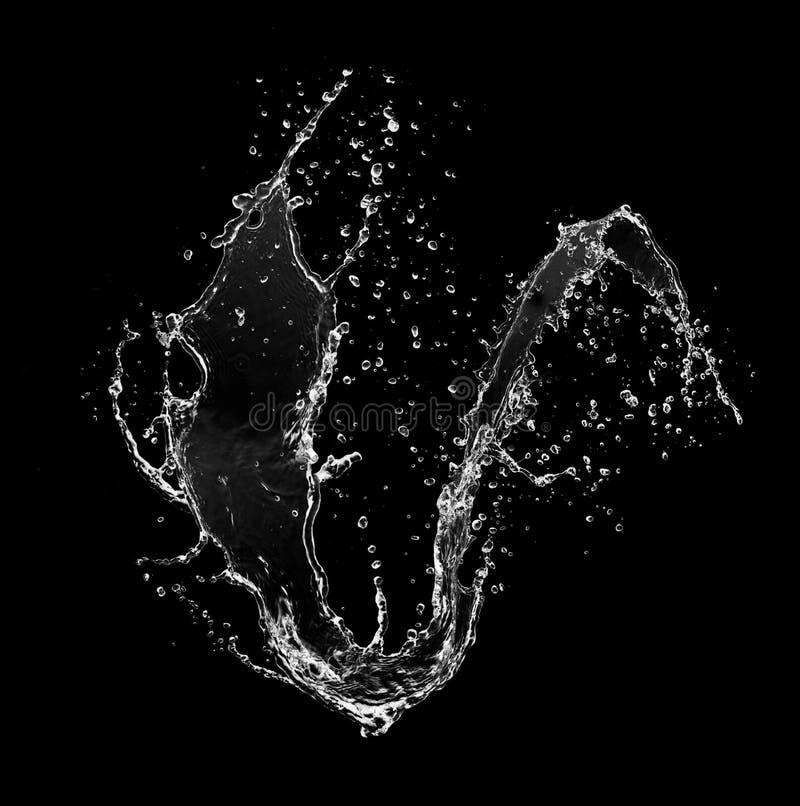Выплеск воды изолированный на черной предпосылке иллюстрация вектора