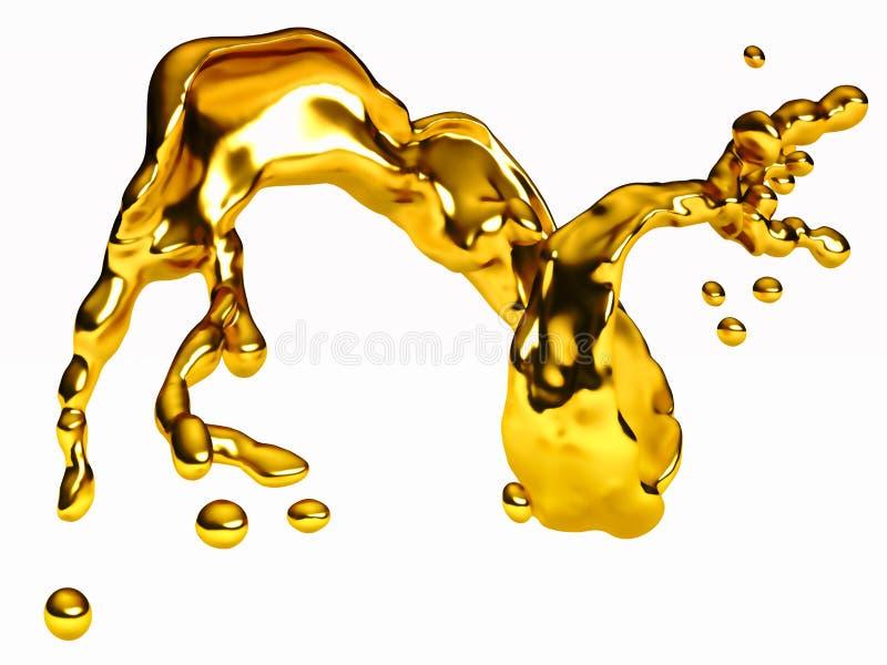 Выплеск золотой жидкости с капельками над белизной иллюстрация штока