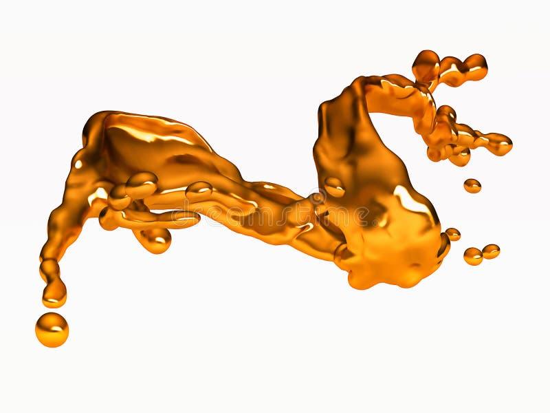 Выплеск золотой жидкости с падениями над белизной бесплатная иллюстрация