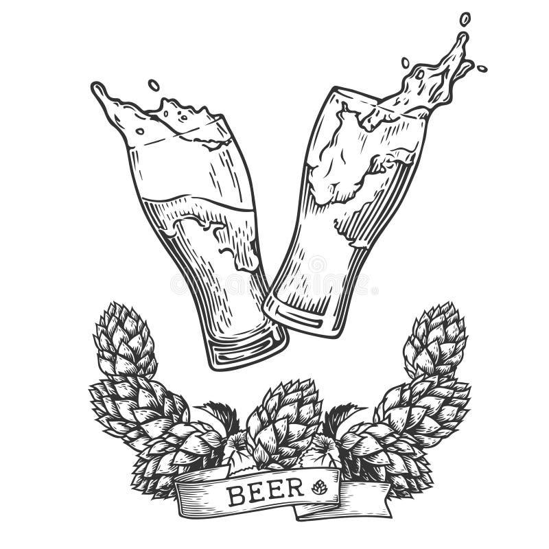 Выплеск и хмель пива иллюстрация штока