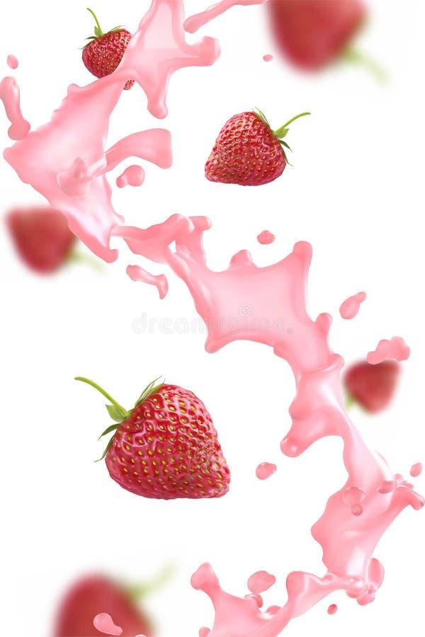 Выплеск клубники с ягодами иллюстрация вектора