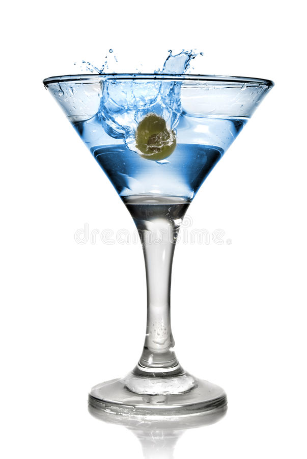 выплеск коктеила спирта голубой стоковое фото rf