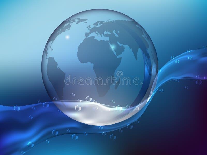 выплеск кристалла - чистой воды с падениями Земля планеты сделанная из стекла в океане Реалистический стиль Vect иллюстрация штока