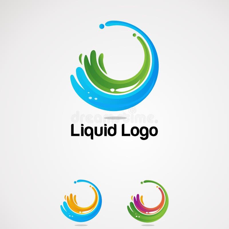 Выплеск круга жидкостный с красочными вектором, значком, элементом, и шаблоном логотипа для компании бесплатная иллюстрация