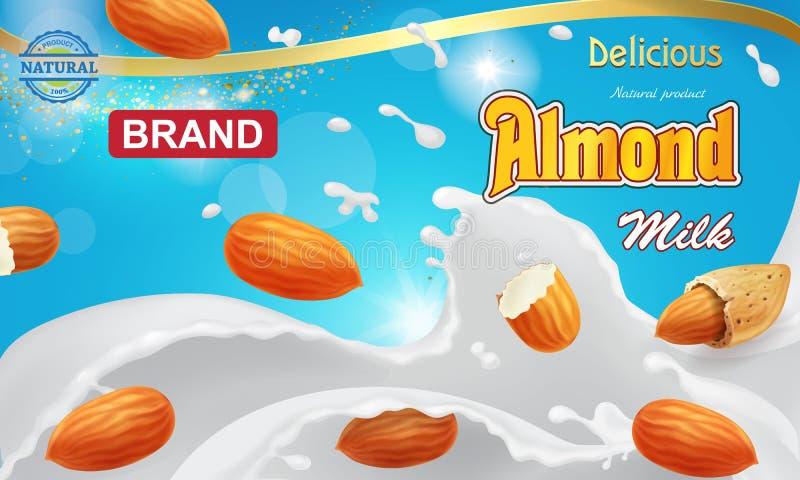 Выплеск молока миндалины с реалистическими гайками миндалины для естественной рекламы напитка бесплатная иллюстрация