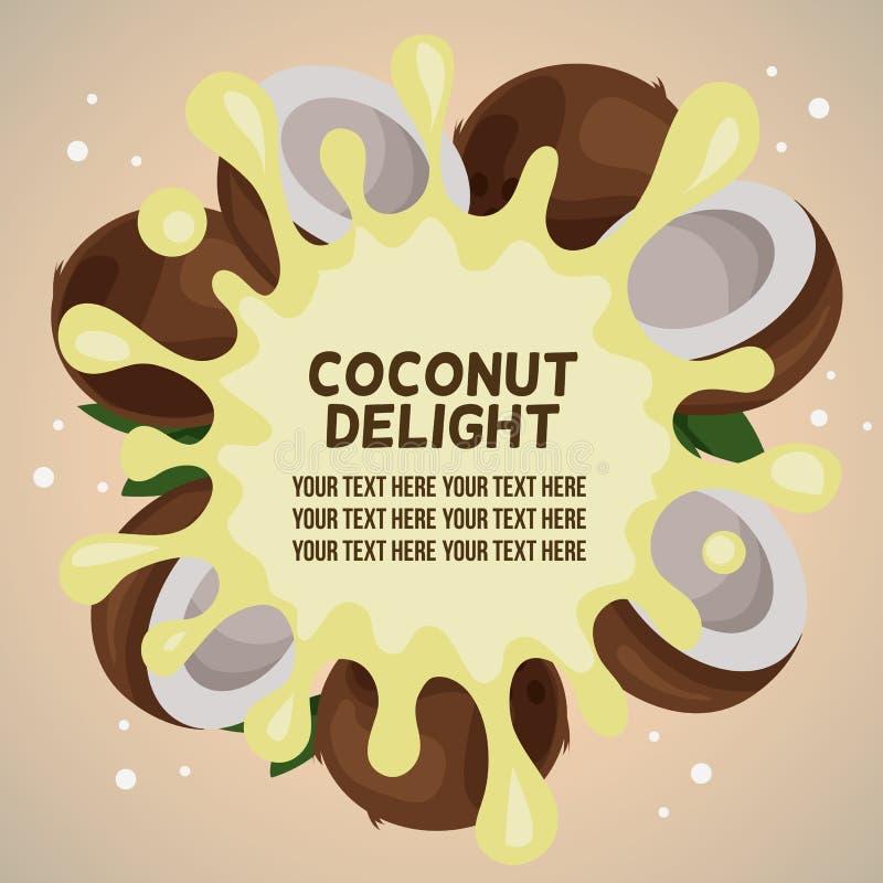 Выплеск наслаждения кокоса иллюстрация вектора