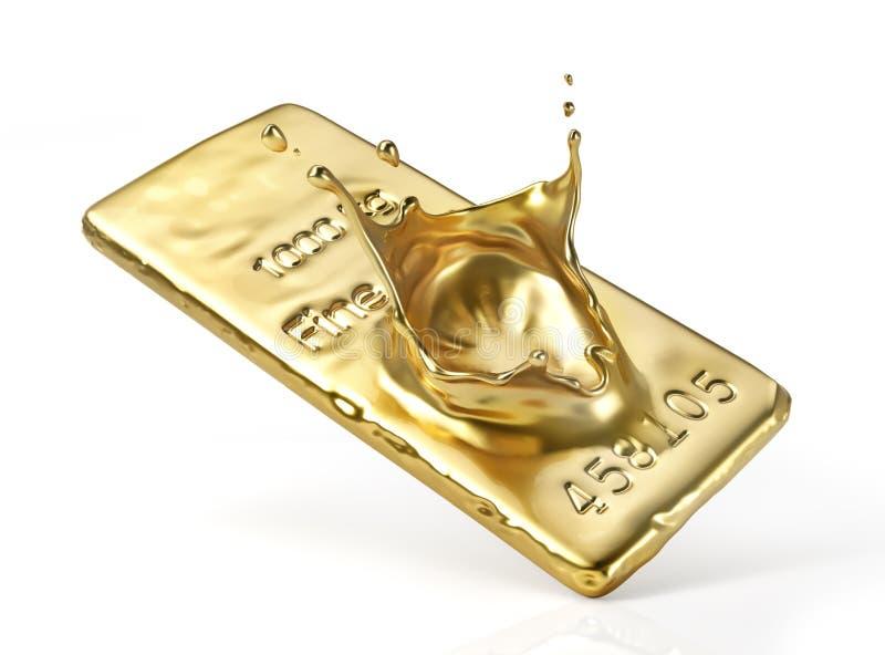Выплеск от изоляции бара золота иллюстрация вектора