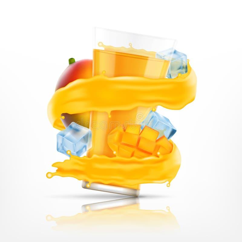 Выплеск сока манго иллюстрация вектора