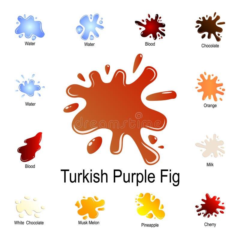 выплеск турецкого фиолетового значка риса Детальный набор выплеска цвета Наградной графический дизайн Один из значков собрания дл иллюстрация штока
