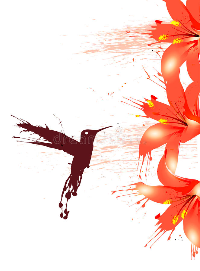 выплеск цветка птицы иллюстрация штока