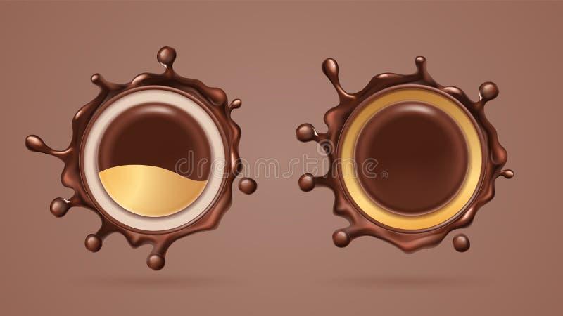 Выплеск шоколада или splat какао жидкостное иллюстрация вектора