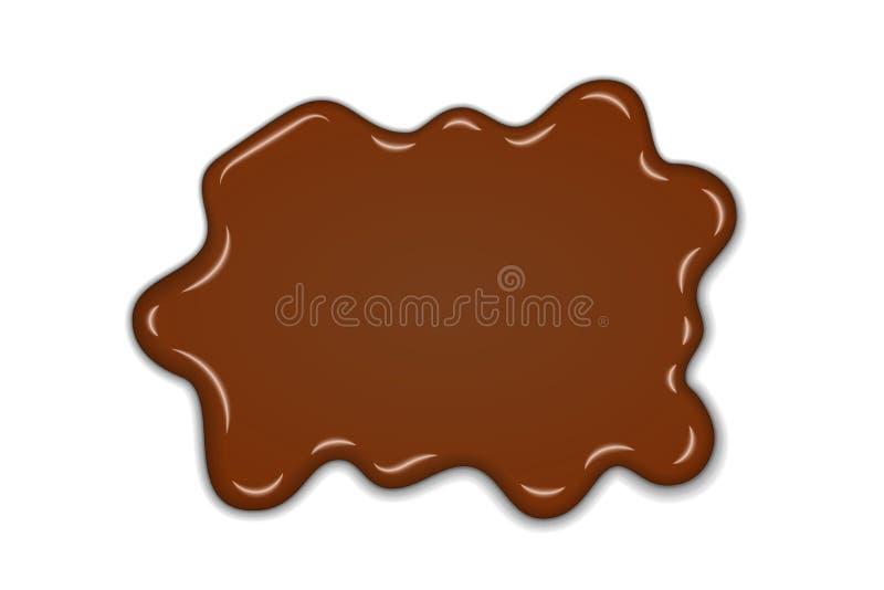 Выплеск шоколада сладкий предпосылка шоколада жидкостной изолированная помаркой белая Абстрактное пятно десерта формы 3D реалисти иллюстрация штока