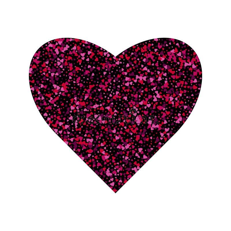 Выплеск confetti вектора в форме сердца Карта поздравлению предпосылки дня Святого Валентина Форма сердца много небольшого иллюстрация штока
