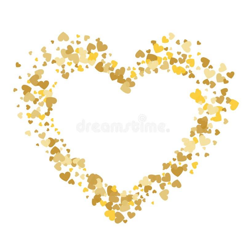 Выплеск confetti золота формы сердца с белой рамкой i сердца бесплатная иллюстрация