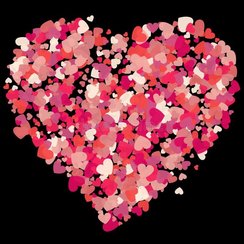 Выплеск confetti пинка вектора формы сердца также вектор иллюстрации притяжки corel бесплатная иллюстрация