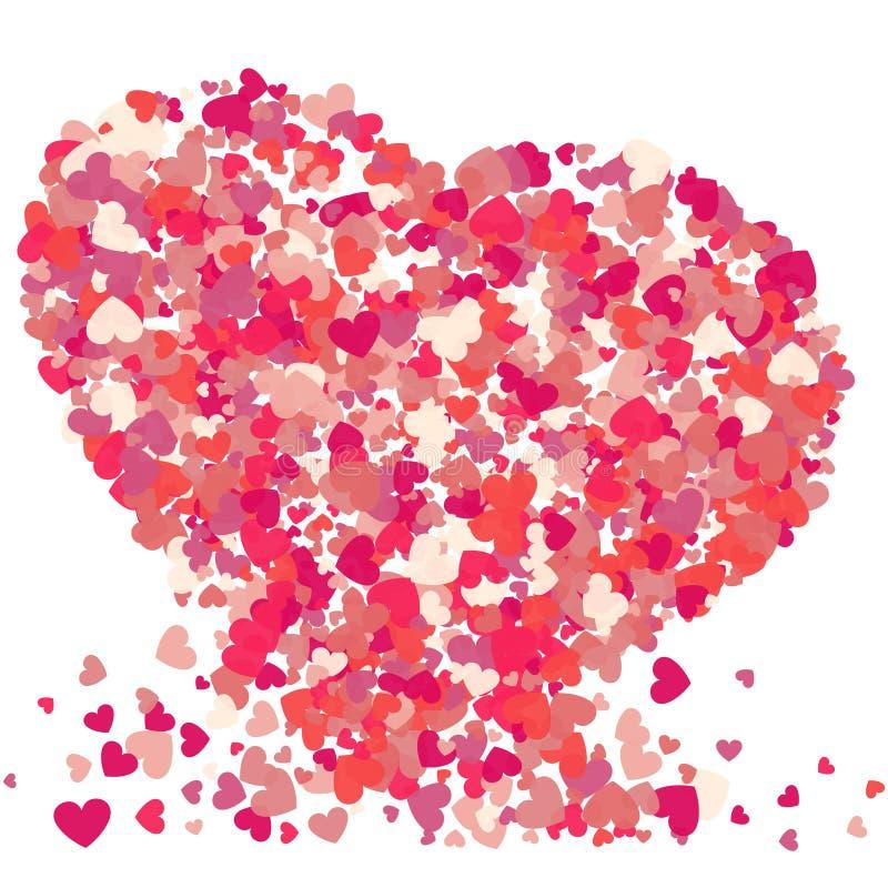 Выплеск confetti пинка вектора формы сердца также вектор иллюстрации притяжки corel иллюстрация штока
