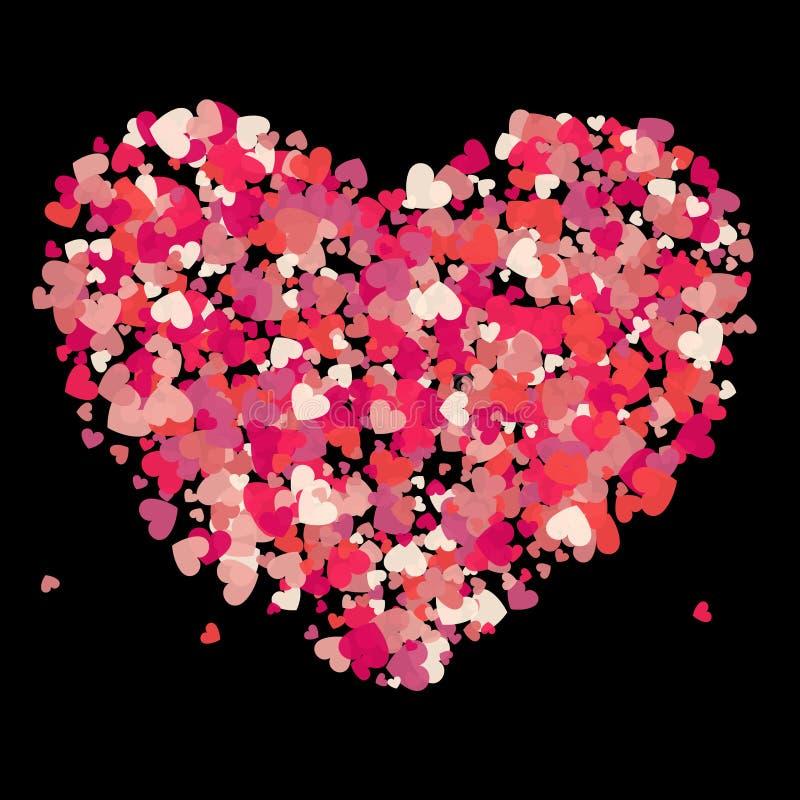 Выплеск confetti пинка вектора формы сердца также вектор иллюстрации притяжки corel иллюстрация вектора