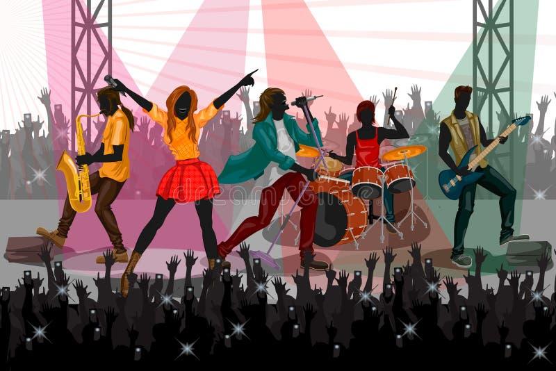 Выполнять группы людей в реальном маштабе времени на представлении концерта диапазона музыки бесплатная иллюстрация