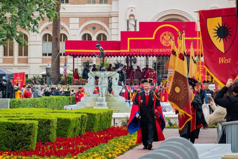 Выпускная церемония Университет Южной Калифорниев стоковое изображение rf