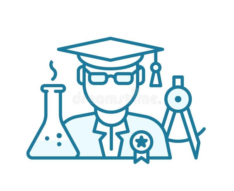 Выпускники высших учебных заведений Степень бакалавра Молодой ученый контурная синяя линия иллюстрация вектора