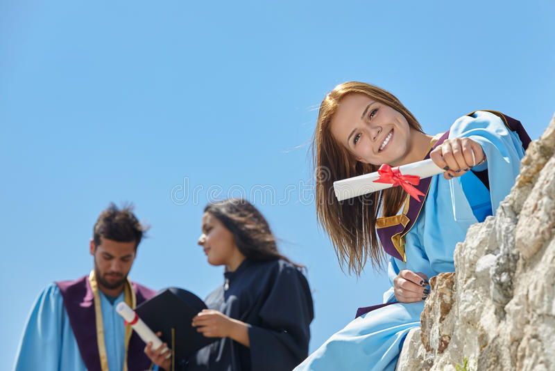 Выпускной день студентов стоковые фотографии rf