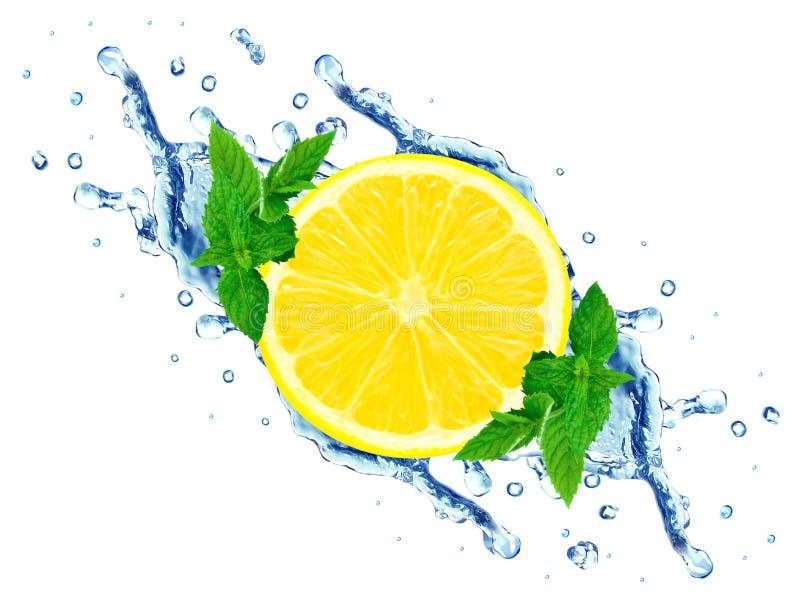 Выплеск лимона и воды стоковая фотография rf