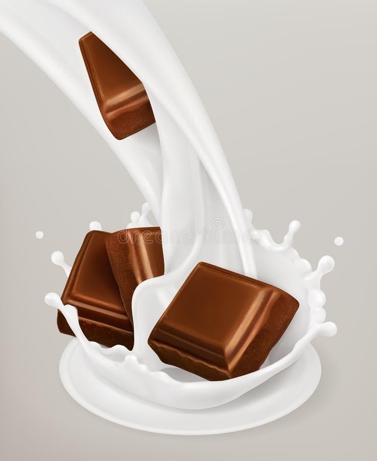 Выплеск и шоколад молока объект вектора 3d иллюстрация вектора