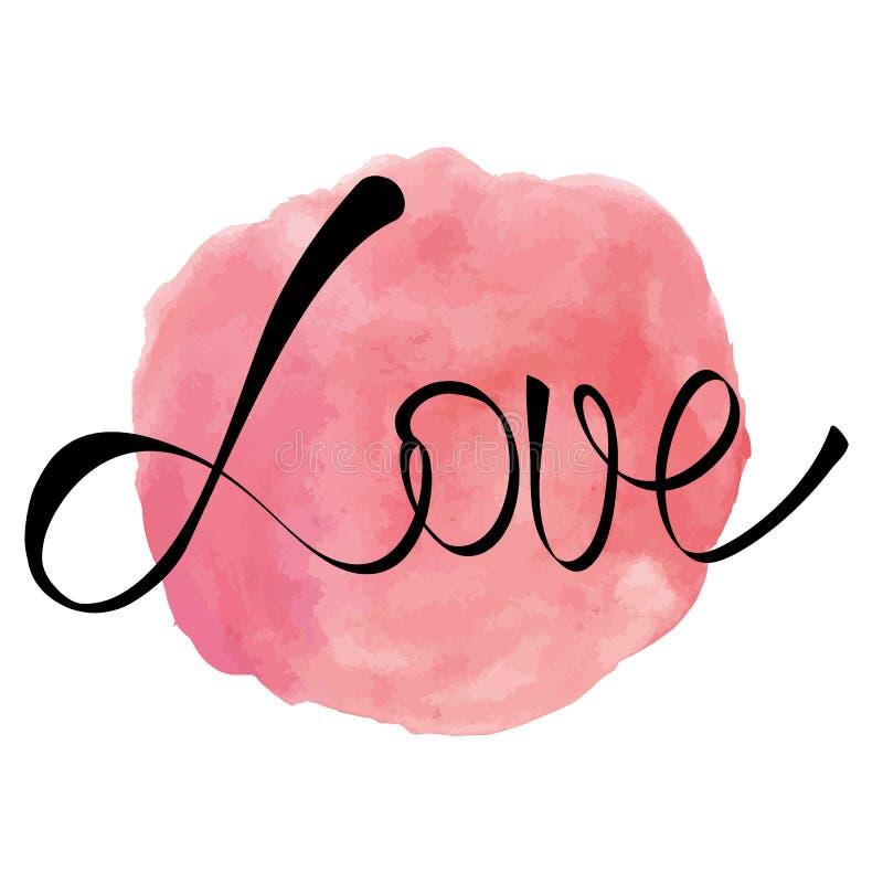 Выплеск розового пинка акварели круглый с словом влюбленности иллюстрация вектора
