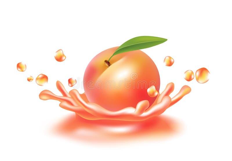 Выплеск сока с персиком Изображение Realictyc иллюстрация вектора