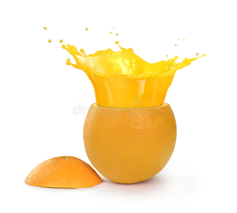 Выплеск сока Orage в апельсине стоковые фотографии rf