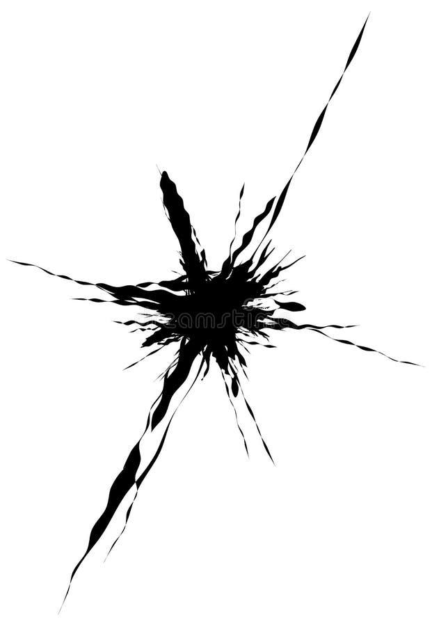 Выплеск, форма splatter изолированный на белизне Splattered жидкое silho иллюстрация штока