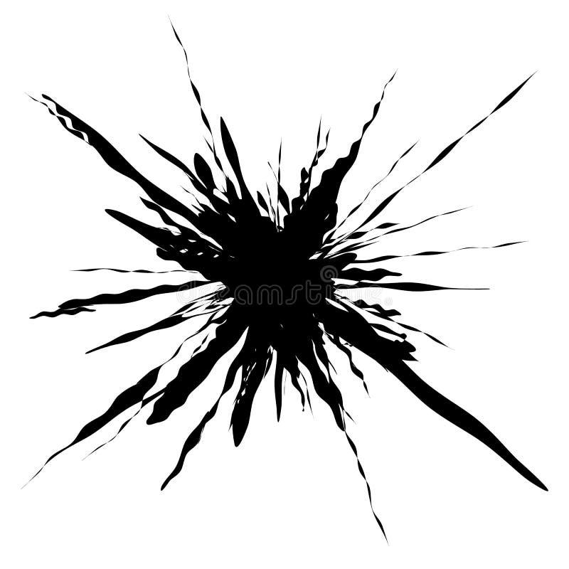 Выплеск, форма splatter изолированный на белизне Splattered жидкое silho иллюстрация вектора